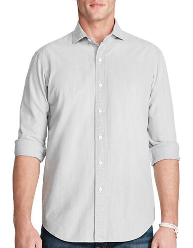 Polo Ralph Lauren Slim Cotton Chambray Shirt-GREY-Medium