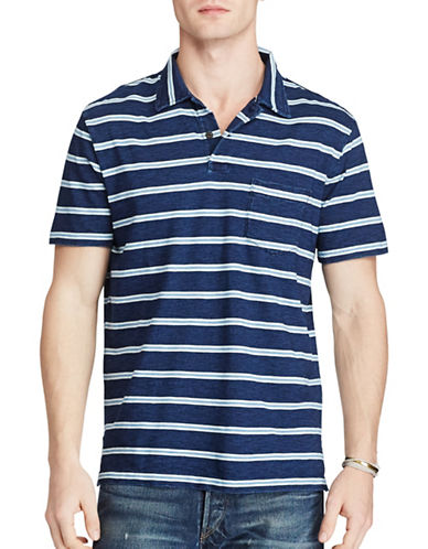 Polo Ralph Lauren Striped Cotton Polo-DARK INDIGO-Small
