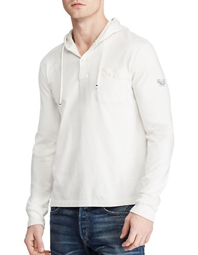 Polo Ralph Lauren Cotton Jersey Hoodie-WHITE-X-Large