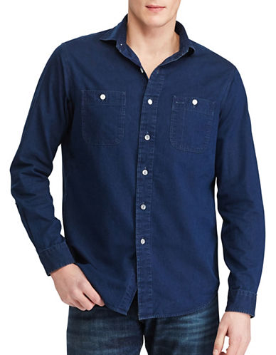 Polo Ralph Lauren Cotton Sport Shirt-INDIGO-Small
