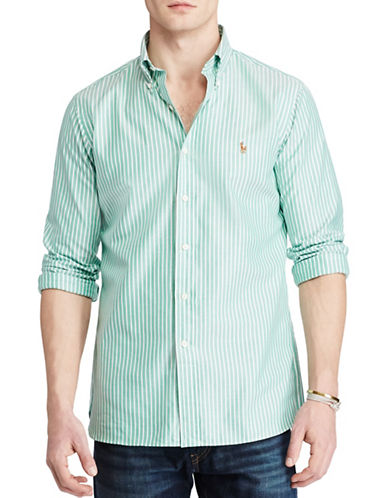 Polo Ralph Lauren Standard Fit Cotton Shirt-GREEN/WHITE-Small