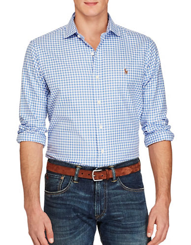 Polo Ralph Lauren Gingham-Checked Oxford Estate Shirt-BLUE/WHITE-Large