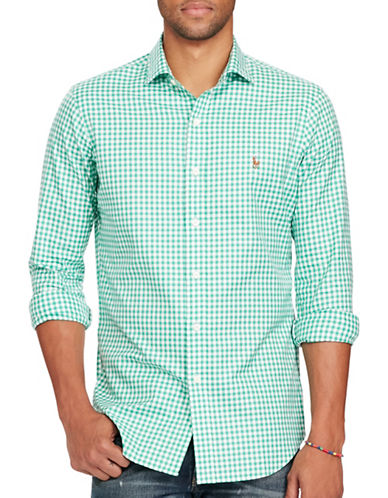 Polo Ralph Lauren Gingham Oxford Estate Shirt-GREEN/WHITE-XX-Large