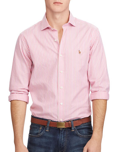 Polo Ralph Lauren Multi-Striped Oxford Estate Shirt-PINK/GREEN-X-Large
