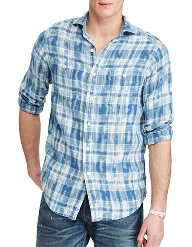 Polo Ralph Lauren Plaid Linen Workshirt-BLUE/NATURAL-X-Large