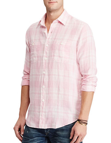 Polo Ralph Lauren Plaid Linen Workshirt-WHITE/PINK-Large