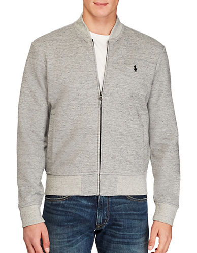 Polo Ralph Lauren Double-Knit Bomber Sweater-GREY-Medium