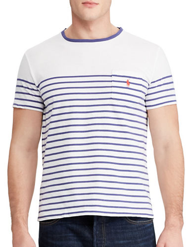 Polo Ralph Lauren Striped Jersey Pocket T-Shirt-WHITE-Medium 88966710_WHITE_Medium