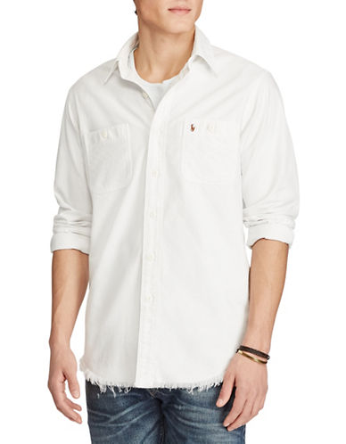 Polo Ralph Lauren Standard Fit Frayed Shirt-WHITE-Large