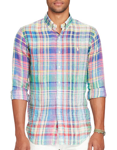 Polo Ralph Lauren Ocean-Wash Linen Sport Shirt-BLUE/PURPLE-Large