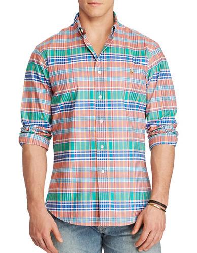 Polo Ralph Lauren Big and Tall Stretch Oxford Sport Shirt-MELON/ROYAL BLUE-1X Big