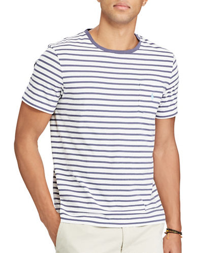 Polo Ralph Lauren Big and Tall Classic-Fit Striped Jersey T-Shirt-WHITE/ BLUE-5X Big