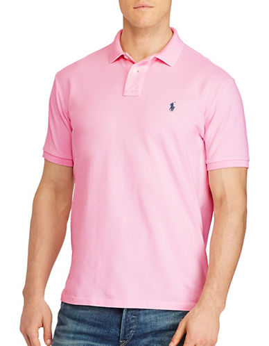Polo Ralph Lauren Big and Tall Classic Weathered Mesh Polo-CARMEL PINK-Large Tall