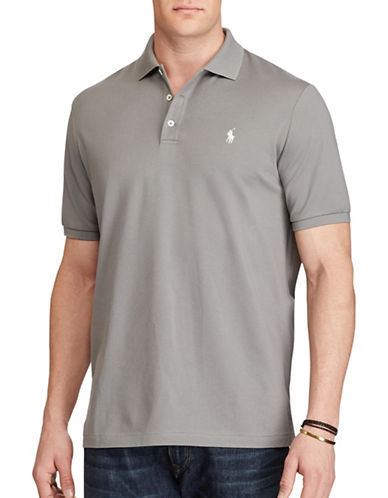 Polo Ralph Lauren Big and Tall Classic Fit Stretch Mesh Polo-GREY-1X Big 88921684_GREY_1X Big