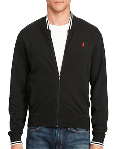 Polo Ralph Lauren Big and Tall Knit Cotton Bomber Jacket-POLO BLACK-3X Big 88922111_POLO BLACK_3X Big