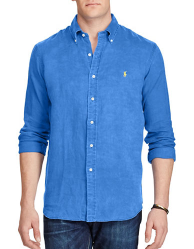 Polo Ralph Lauren Classic Fit Ocean-Wash Linen Shirt-BLUE-4X Big