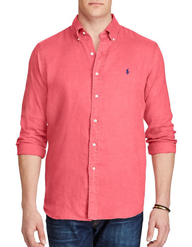 Polo Ralph Lauren Classic Fit Ocean-Wash Linen Shirt-RED-4X Tall