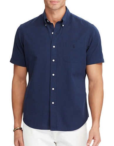 Polo Ralph Lauren Classic Fit Seersucker Shirt-NAVY-4X Big