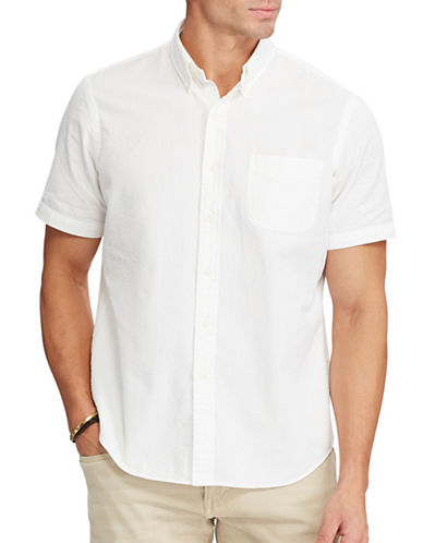 Polo Ralph Lauren Classic Fit Seersucker Shirt-WHITE-3X Tall