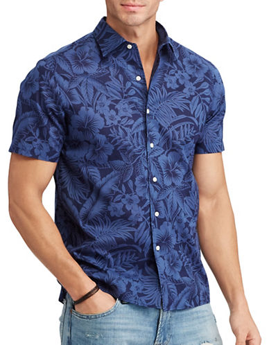 Polo Ralph Lauren Classic Fit Cotton Shirt-BLUE TROPICAL-4X Tall