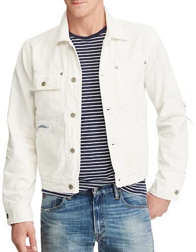 Polo Ralph Lauren Repaired Denim Jacket-WHITE-X-Large 88967380_WHITE_X-Large