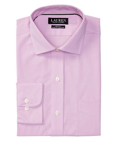 Lauren Green Slim-Fit Stretch Estate Dress Shirt-PINK/WHITE-16.5-32/33