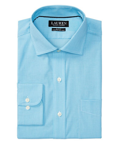 Lauren Green Slim-Fit Stretch Estate Dress Shirt-TURQUOISE-17-32/33