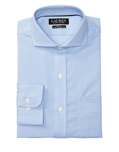 Lauren Green Slim-Fit Gingham Dress Shirt-WHITE/REGION-17.5-32/33