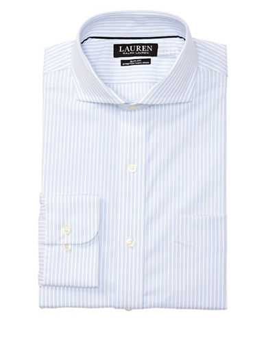 Lauren Green Slim-Fit Striped Dress Shirt-WHITE/REGION-17-32/33