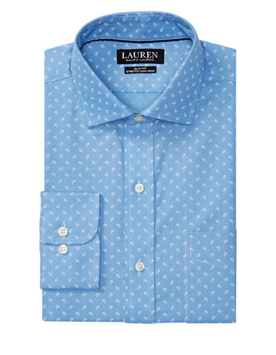 Lauren Green Slim-Fit Paisley Estate Dress Shirt-BLUE-16.5-32/33