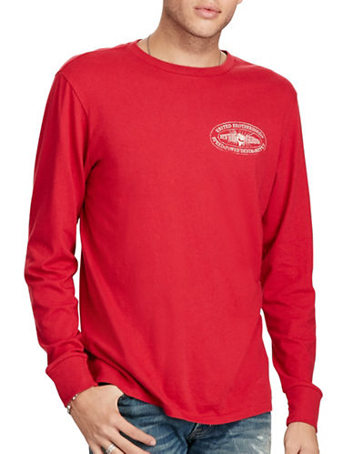 Denim & Supply Ralph Lauren Moto Long Sleeve Graphic T-Shirt-RED-Small 88969455_RED_Small