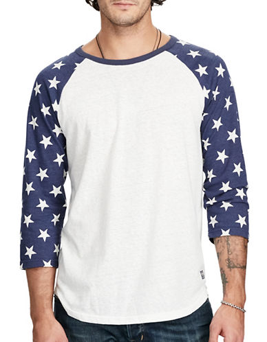 Denim & Supply Ralph Lauren Cotton Jersey Baseball Tee-WHITE-Large 88969563_WHITE_Large