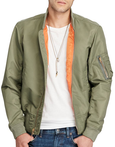 Denim & Supply Ralph Lauren Flag-Print Nylon Bomber Jacket-GREEN-Medium 88969659_GREEN_Medium