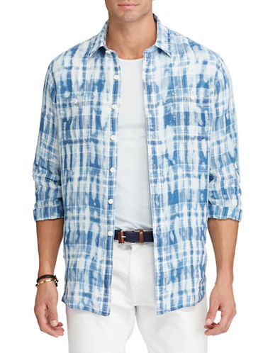 Polo Ralph Lauren Classic-Fit Plaid Linen Shirt-BLUE-4X Big