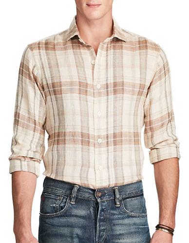 Polo Ralph Lauren Plaid Linen Military Shirt-BROWN-X-Large