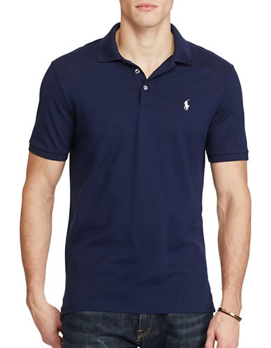 Polo Ralph Lauren Classic Fit Stretch-Mesh Polo Shirt-NAVY-Large