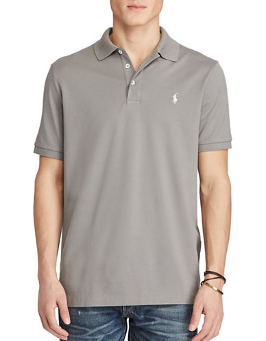 Polo Ralph Lauren Classic Fit Stretch-Mesh Polo Shirt-GREY-X-Large