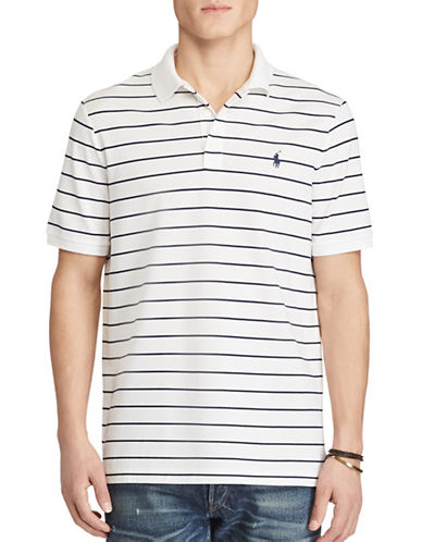 Polo Ralph Lauren Classic Fit Striped Stretch-Mesh Polo Shirt-WHITE-Small