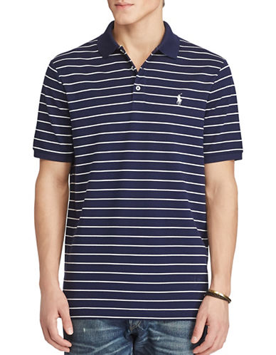 Polo Ralph Lauren Classic Fit Striped Stretch-Mesh Polo Shirt-NAVY-Small