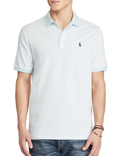 Polo Ralph Lauren Classic Fit Striped Stretch-Mesh Polo Shirt-BLUE-Large
