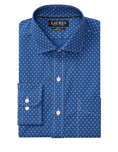 Lauren Green Slim-Fit Diamond-Print Estate Dress Shirt-BLUE-17.5-32/33