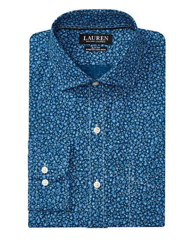 Lauren Green Slim-Fit Floral Estate Dress Shirt-BLUE-16.5-34/35