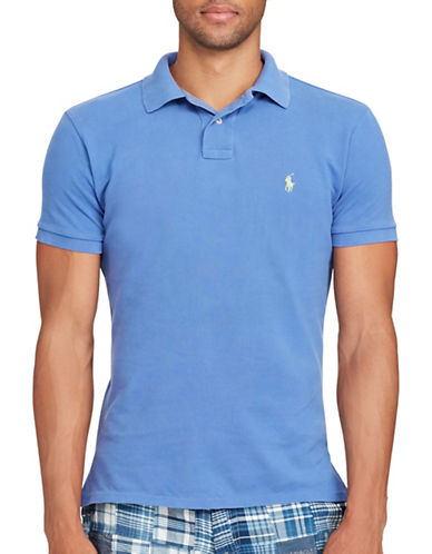 Polo Ralph Lauren Slim-Fit Weathered Mesh Polo-BLUE-Large