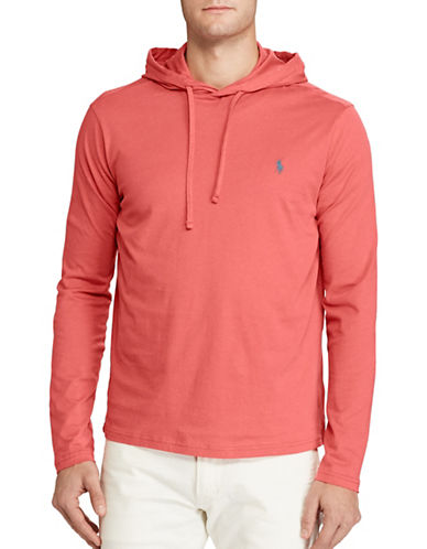 Polo Ralph Lauren Drawstring Cotton Jersey Hoodie-RED-X-Large