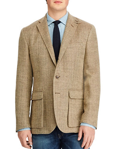 Polo Ralph Lauren Linen-Silk Herringbone Sport Coat-BROWN-46 Regular