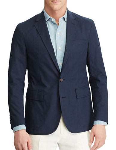 Polo Ralph Lauren Collins-Fit Seersucker Sport Coat-BLUE-46 Regular