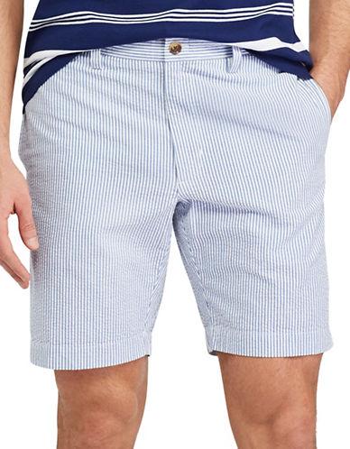 Chaps Flat-Front Cotton Seersucker Shorts-BLUE-38