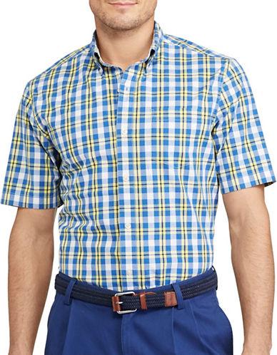 Chaps Short-Sleeve Stretch Cotton Sport Shirt-YELLOW-Medium