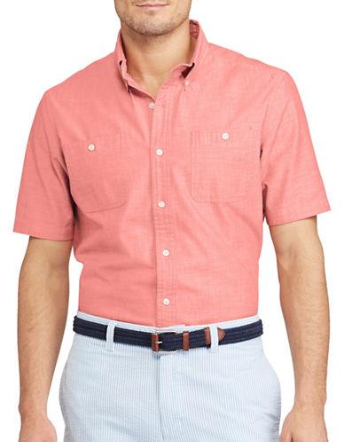 Chaps Cotton Chambray Sport Shirt-PINK-X-Large