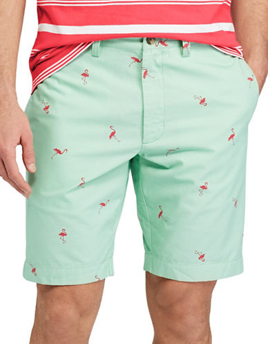 Chaps Printed Cotton Shorts-GREEN-38
